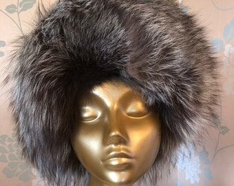 Fabulous Fox Fur and Leather Designer All Occasion Winter Hat.