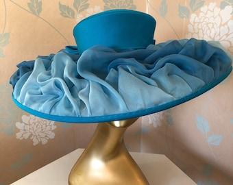 End of Season Sale !!! Luxurious Shaded Silk Chiffon Turquoise Hat.