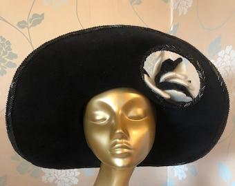 Designer Wide-brimmed Black Felt Hat, Formal, Glamourous!