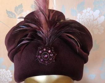 Luxurious Plum Velvet Draped, Turban-style Designer Toque, Feathers, Beadwork, Formal.