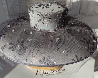 Sale Price!!! Fabulous, Embroidered, Beaded, Silk, Organza, Wedding, Ascot, Mother- of- the- Bride, Designer, Hat.