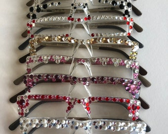 Hand -decorated, Reading-glasses, Swarovski Crystals, Exclusive Designs, Many Colours, Spectacles.
