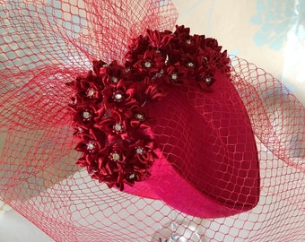 Valentine Hat! Romantic Gift, Red, Silk, Heart, Swarovski, Crystals, Rosebuds, Cocktail, Ascot, Veiling, Gift, Special Occasion, Gift.