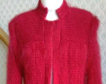 Cosy Red Mohair Knitted Designer Cardigan- Coat.