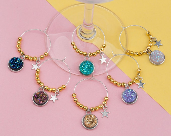 Set of 6 Druzy / Drusy Wine Glass Charms Gold Plated Natural Stone Color Resin Charms Wine Glass Party Favors Wine Lover Gifts