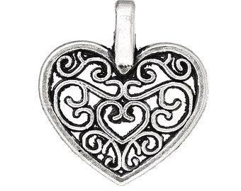 Bulk 6 Heart Charms Filigree Antique Silver 2 Sided Antique Silver Bracelet Charm Necklace Pendant Jewelry Supplies Charms Craft Projects