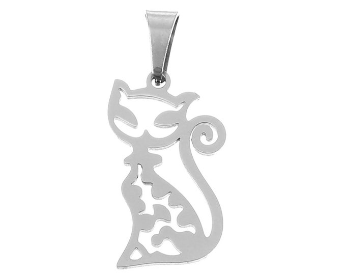 Bulk Pack 5 Stainless Steel Silhouette Cat Pendant Charm w/ Pendants Bail Bracelet Charms Necklace Jewelry Supplies Craft Projects Earrings
