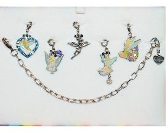 Disney Tinkerbell Starter Bracelet with 5 Charms Heart, T, Flower, Pewter & Dangle Flower Pixie Tinker Bell - Charm It