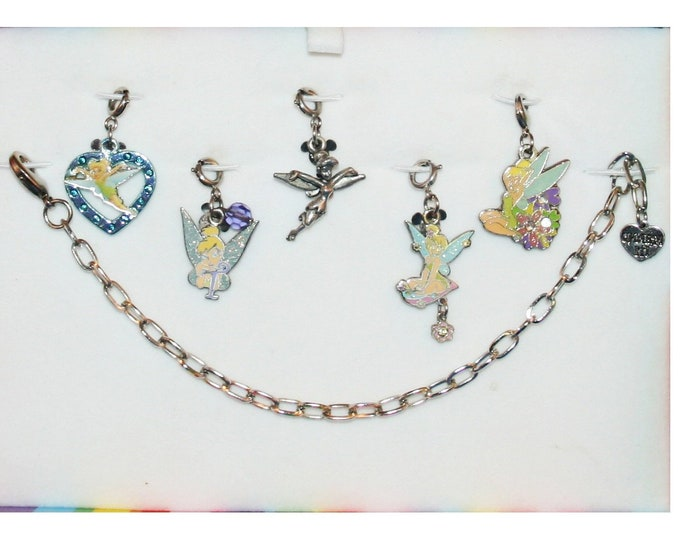 Disney Tinkerbell Bracelet with 5 Charms Heart, T, Flower, Pewter & Dangle Flower Pixie Tinker Bell - Charm It