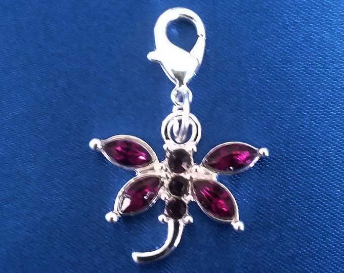 Purple Rhinestone Dragonfly Charm Silver Plated Bracelet Charms Necklace Pendants Jewelry Supplies Craft Projects Earrings Earring