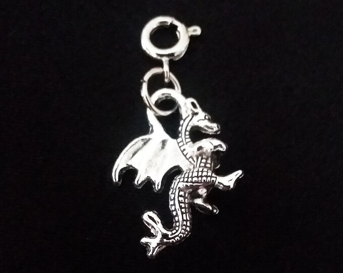 Dragon Charm Antique Silver 2 Sided Bracelet Charms Necklace Pendant Jewelry Supplies Charms Craft Projects Fantasy Earrings Earring