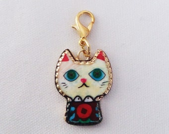 Multi Colored Enamel Cat Charm Gold Plated Bracelet Charms Necklace Pendant Jewelry Supplies Craft Projects Earrings