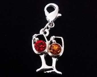 Wine Glass Charm Silver Plated Red & Yellow Rhinestone Enamel Bracelet Charms Necklace Pendant Jewelry Supplies Craft Projects Earrings