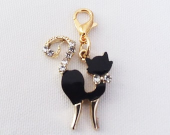 Black Cat Charm Rhinestones & Gold Plated Bracelet Charms Necklace Pendant Jewelry Supplies Craft Projects Earrings Halloween