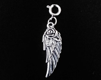 Angel Wing Charm Antique Silver 2 Sided Rose Angels Wings Bracelet Charms Necklace Pendant Jewelry Supplies Charms Craft Projects Earrings