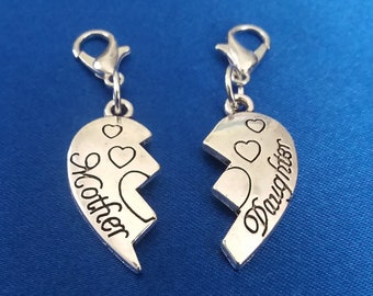 Mother & Daughter Heart Charm set 2 Antique Silver Bracelet Charms Necklace Pendant Jewelry Charms Earrings Earring Zipper Pulls