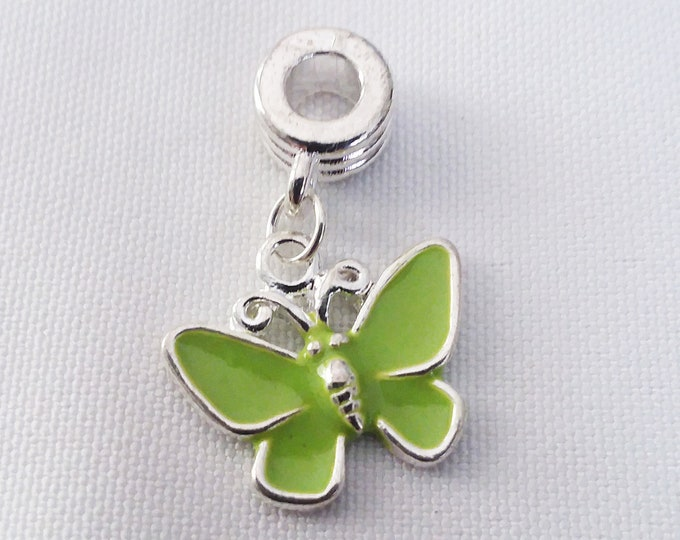 Lime Green Enamel Butterfly Charm European Style Large Hole Dangle Beads Silver Plated Bracelet Necklace Jewelry Bead Charms Craft Supplies