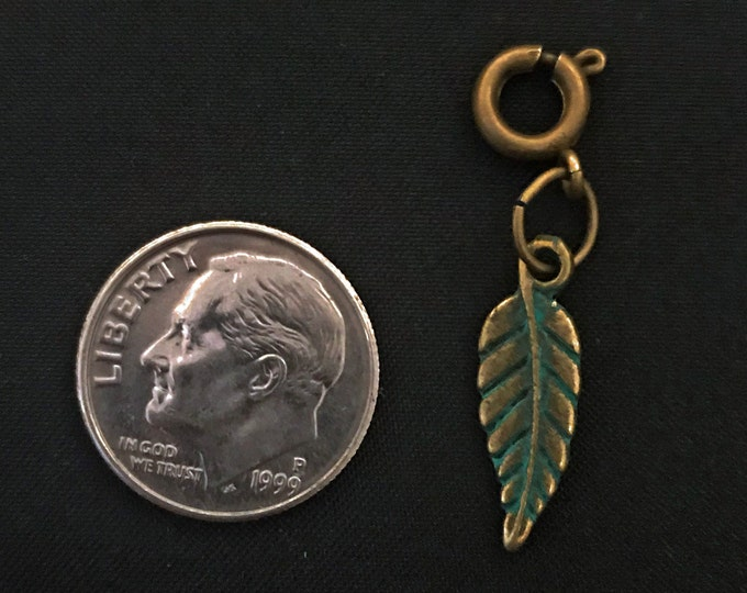 Small Feather Charm OX Brass / Turq Patina Bracelet Charms Necklace Earring Charm DIY Jewelry or Craft Supplies