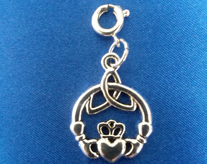Irish Claddagh Heart Charm Antique Silver Celtic Knot Heart Bracelet Charms Necklace Pendant Jewelry Supplies Craft Projects Earrings
