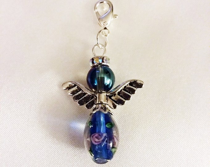 Blue Glass Guardian Angel Charm Bracelet Charms Necklace Pendant Jewelry Supplies Craft Projects Earrings Glass Bead Antique Silver Wings