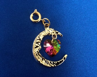 Gold Moon with Dangle Rhinestone Heart Charm  Bracelet Charms Necklace Pendants Jewelry Supplies Craft Projects Earrings Beads