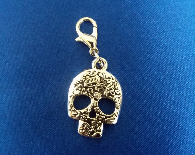 Skull Charm Day of  the Dead Sugar Skull Bracelet Charms Antique Silver Necklace Pendant Jewelry Supplies Craft Zipper Pull Earrings