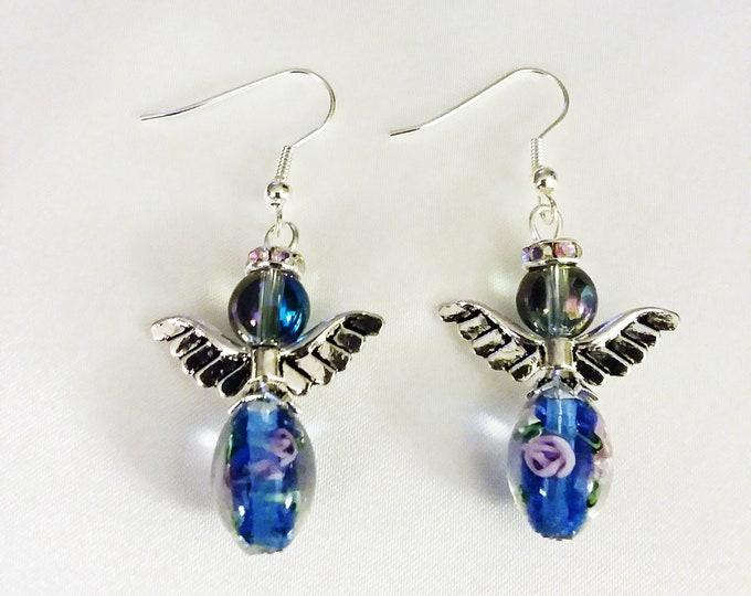 Set of Blue Guardian Angel Earrings  Angel Charm Earring Drop Dangle Jewelry French Hook Style Ear Wires