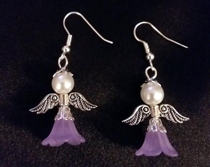 Guardian Angel Earrings Set of Purple Angel Charm Earring Drop Dangle Jewelry French Hook Style Ear Wires Golden