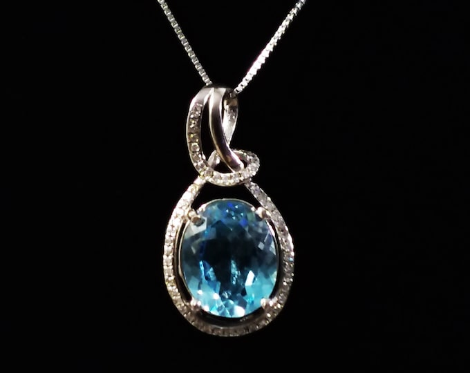 3.82 Ct Baby Swiss Blue Topaz and 1/4 Ct White Sapphire & Diamond Sterling Silver Pendant on a 18 Inch Box Chain Necklace Gemstone Jewelry