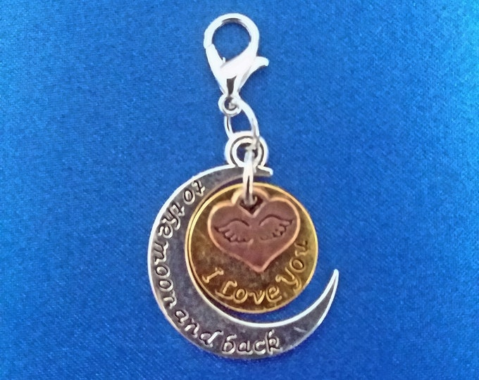 Love You to the Moon and Back Charms Angel Wings 3 Piece Charm Antique Silver Gold & Copper Tones Bracelet Necklace Jewelry Earrings