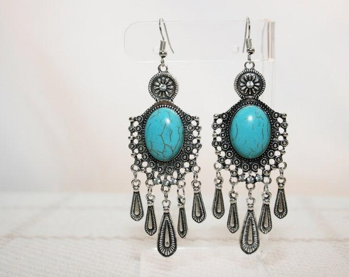 Turquoise Shield Chandelier Dangle Earrings Boho Jewellery Fashion Jewelry Earring Gemstone Jewelry, December Birthstone French Hooks