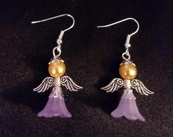 Guardian Angel Earrings Set of Gold Purple Angel Charm Earring Drop Dangle Jewelry French Hook Style Ear Wires