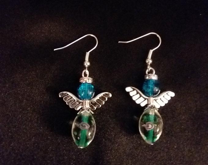 Set of Blue & Green Guardian Angel Earrings  Angel Charm Earring Drop Dangle Jewelry French Hook Style Ear Wires