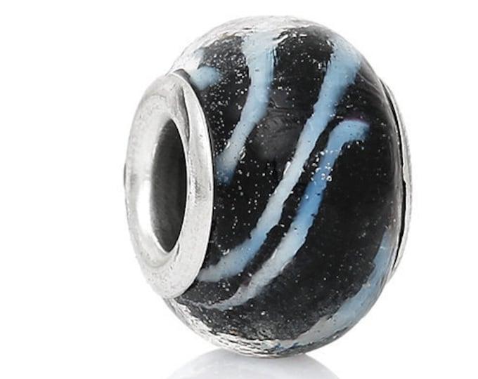 Black Swirl Glass Bracelet Bead Lampwork European Style Round Silver Plated Core white Swirl Pattern Beads Necklace Jewelry