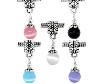 Cat's Eye Glass Dangle Beads Ball Charms European Style Charm Silver Plated Bracelet Charms Jewelry Supplies Craft Projects Earrings Bead