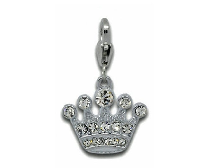 Princess Crown Rhinestone Charm Silver Tone Bracelet Charms Necklace Pendant Jewelry Supplies Craft Projects Earrings