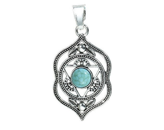 Chakra Pendant Charm Agnya Ajna Antique Silver Tone Faux Cabochon Turquoise Charms Necklace Pendants Jewelry Supplies Earrings Yoga Healing