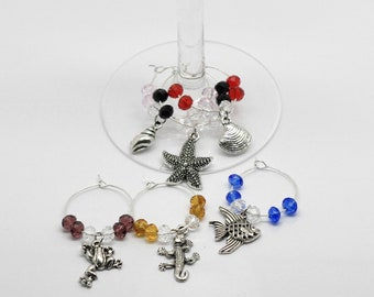 6 Ocean Creatures Beach Sea themed Wine Glass Charms Antique Silver Finish - Star Fish - Clam Shell - Sea Shell - Fish – Frog Wine Charm