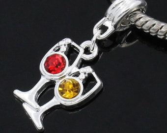 Wine Glass Charm Silver Plated Red & Yellow Rhinestone European Style Large Hole Bracelet Charms Necklace Jewelry Supplies Projects Earrings