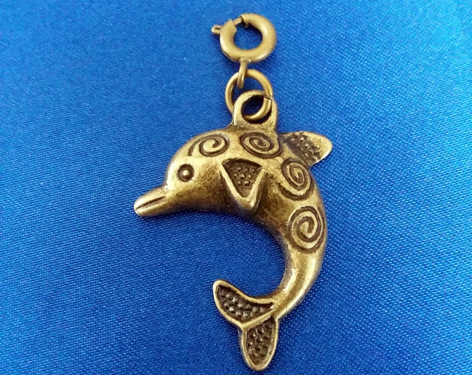 Dolphin / Porpoise Charm Antique Bronze Tone Bracelet Charms Necklace Pendant Jewelry Supplies Charms Craft Projects Zipper Pull Earrings