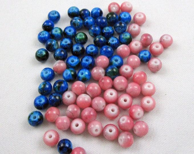 Loose Blue Beads and Korea Pink Glass Beads 6 mm Bracelet Beads Necklace Jewelry Bead Charms Craft Supplies