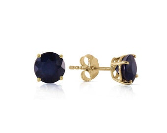 0.95 Ct Genuine Blue Sapphire 14Kt Solid Yellow Gold Stud Earrings – Gemstone Estate Jewelry Earring