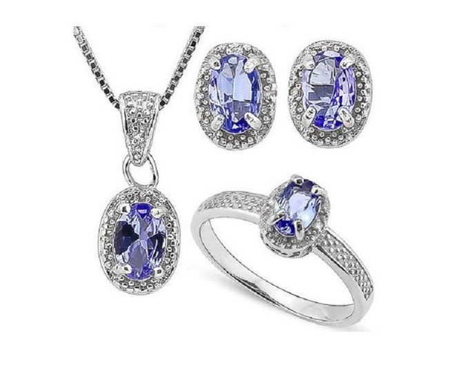 1 3/4 Ct Tanzanite & Diamond Ring, Pendant Necklace and Earring Sterling Silver Set 925 Estate Jewelry Earrings