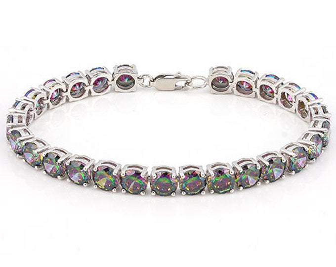 21.15 Ct Mystic Topaz Gemstone Bracelet Sterling Silver 925 Tennis Bracelet Round Cut Estate Statement Jewelry Purple Gift Women Birthday
