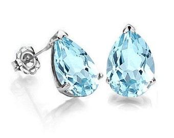1 Ct Sky Blue Topaz Earrings 14 Kt Solid White Gold Estate Jewelry Stud Earring