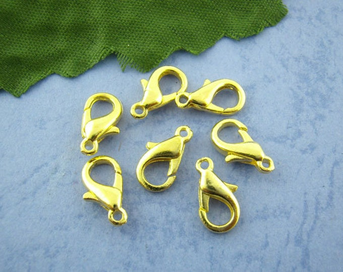 10 Pack 12mm Lobster Claw Clasp Gold Plated Clasps Great for Jewelry Making Supplies & Craft Projects Charms Bracelet Charm
