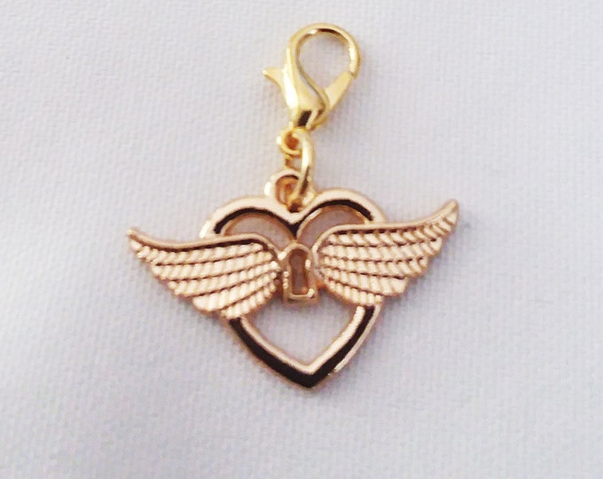 Winged Heart Charm Gold Plated Wing Heart Bracelet Charms Necklace Pendant Jewelry Supplies Craft Projects Earrings