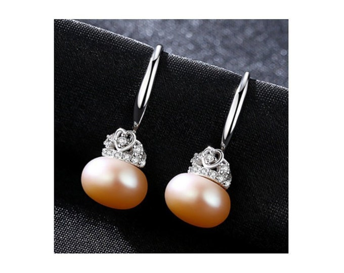 Pink Freshwater Pearl & CZ Cubic Zirconia Earrings Sterling Silver - 925 Gemstone Estate Jewelry Drop - Dangle Earring Wedding Bride