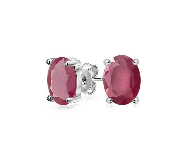 1.35 Ct African Ruby 14K Solid White Gold Stud Earrings – Rubies Gemstone Estate Jewelry