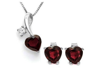 3 Ct Genuine Red Garnet & White Topaz Pendant Necklace and Earring Sterling Silver Set 925 Estate Jewelry Earrings